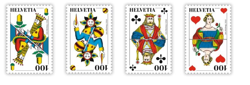 Briefmarken mit Spielkarten Motiven hier im JassShop erhältlich