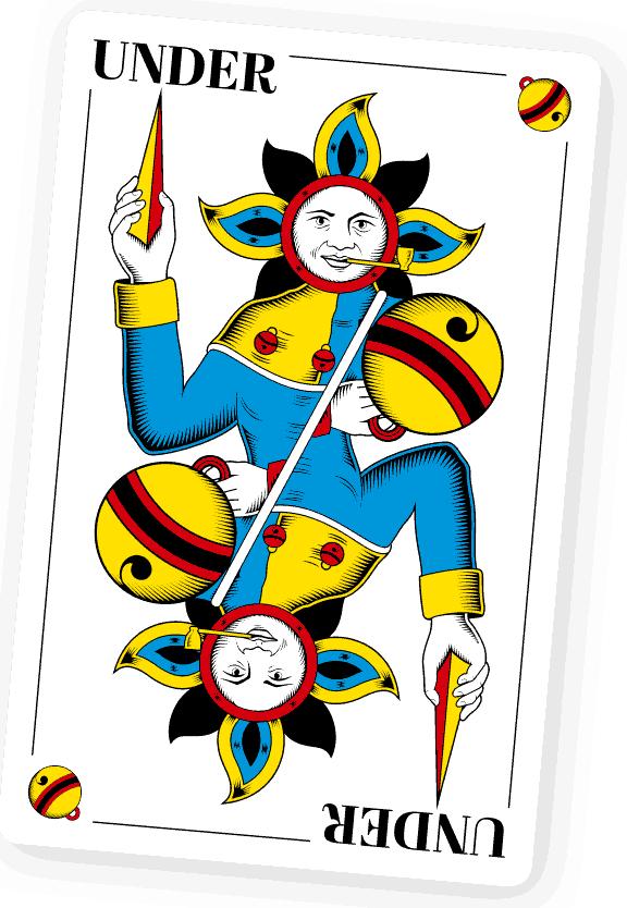 Riedweg Spielkarten. Schellenunter. Baar, 2018. Vektorillustration, digital. Offsetdruck
