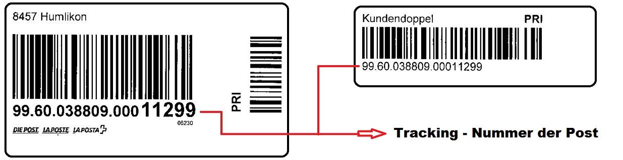 Tracking Nummer der Schweizerischen Post: Klicken Sie hier mit der Maus und geben die letzten 5 Zahlen der Traking Nummer noch ein